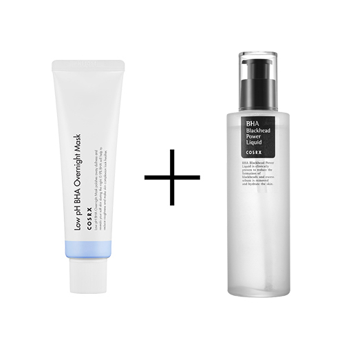 Cosrx Low PH BHA Overnight Mask + COSRX BHA BLACKHEAD POWER LIQUID