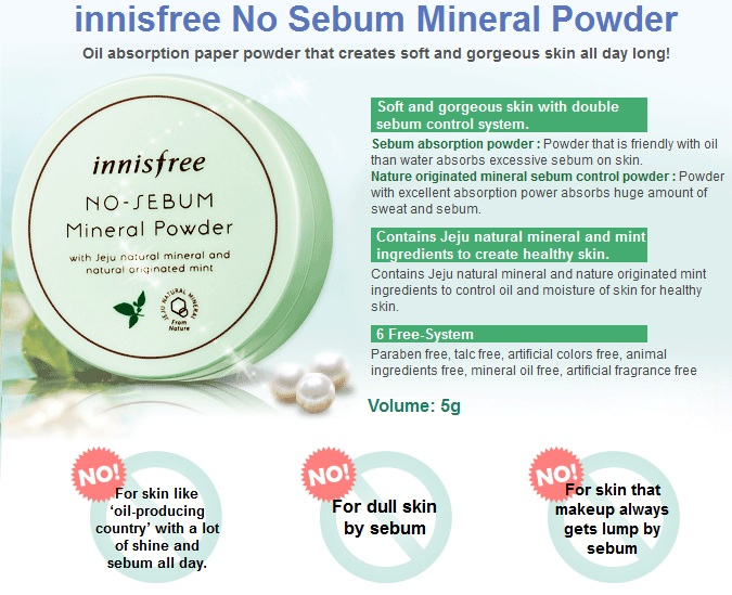 There are two types of mineral powder by Innisfree, one is the No Sebum Blur Pact/Powder and the other is this classic No Sebum Mineral Pact/Powder.