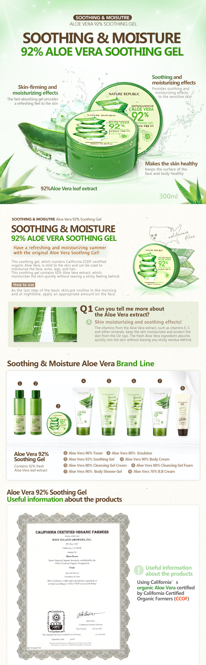 Nature republic soothing and moisture aloe vera 92 soothing gel 300ml - Detail